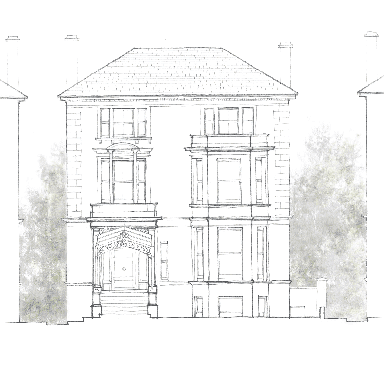 Phillimores sketch showing the front elevation