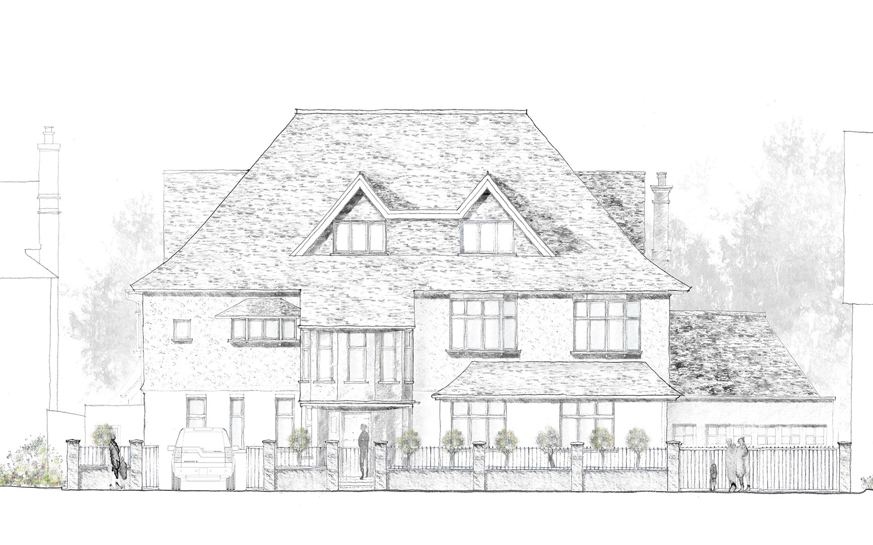 Wimbledon sketch showing the front elevation