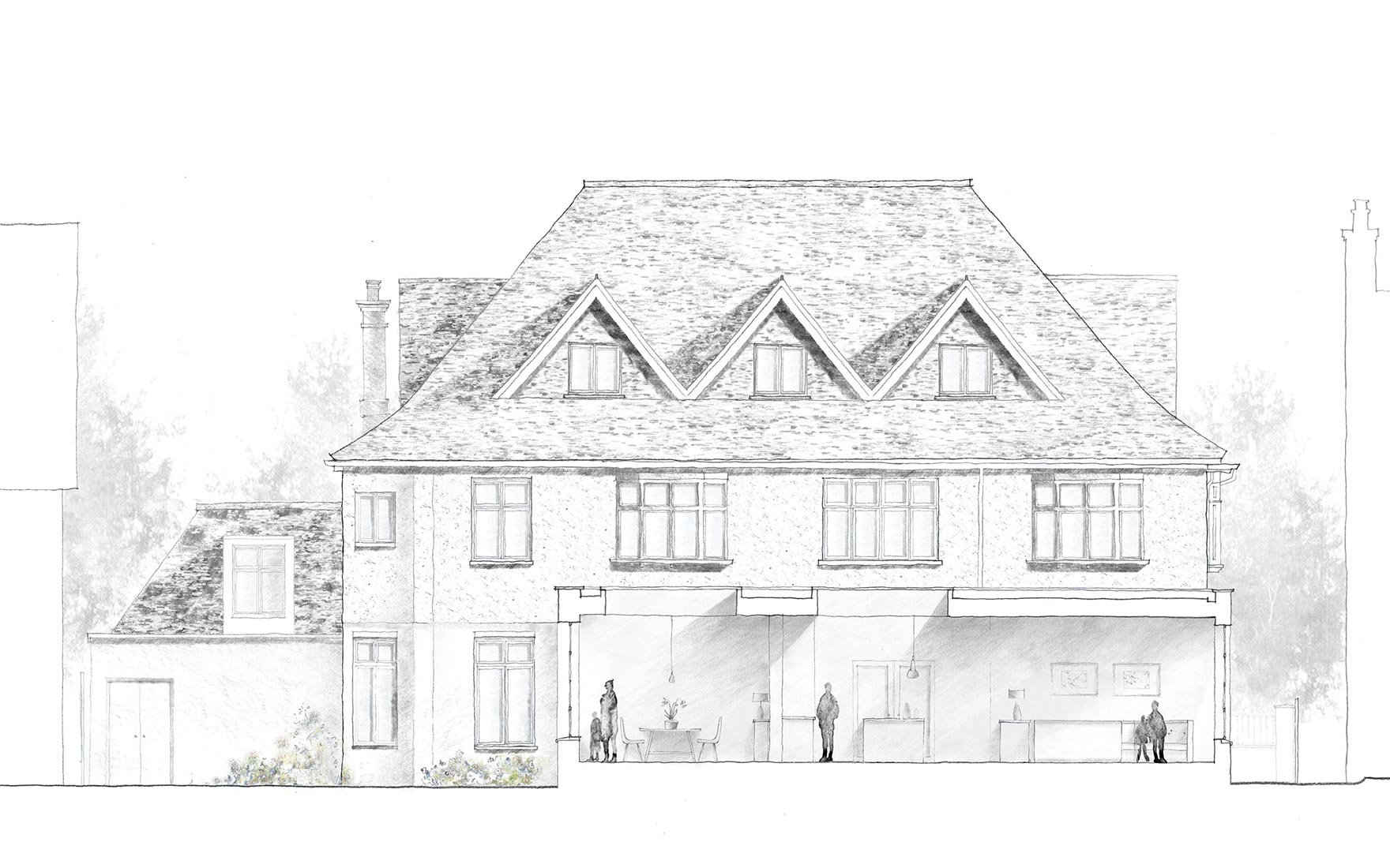 Wimbledon sketch showing the rear elevation and section